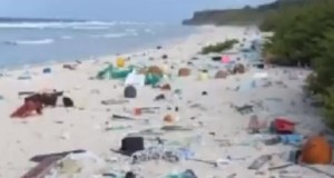 Plastic waste washes up on the shores of remote Pacific islands.