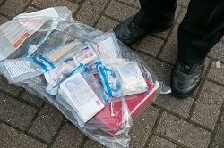 Cash recovered during a police drugs raid in Shadwell, December 2017