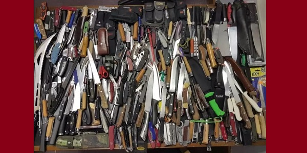 A selection of knives recovered by the police.